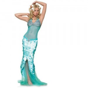 Glittery Mermaid Mesh Halter Dress W/Sequined Top & Scale Skirt