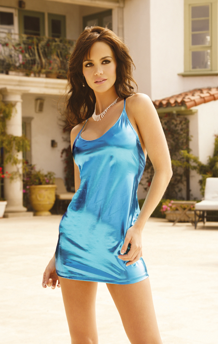 Elegant Moments Slip Style Mini Dress In Lycra Lame' - Teal