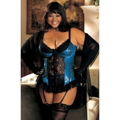 Plus Size Satin Tapestry Flowered Jacquard Bustier Lingerie - Royal