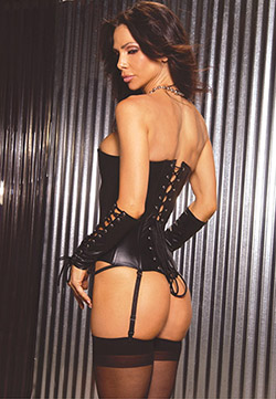 Zip Front Leather Corset - Back