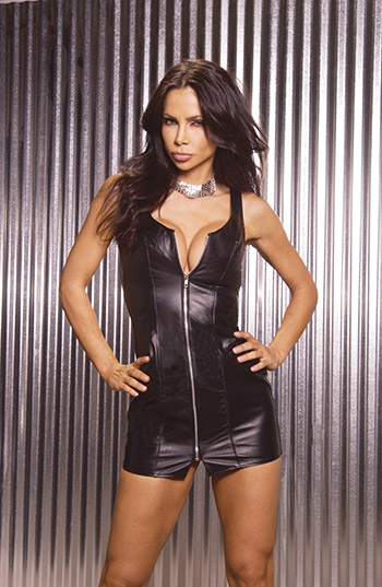 Black Leather Zip Front Mini-Dress