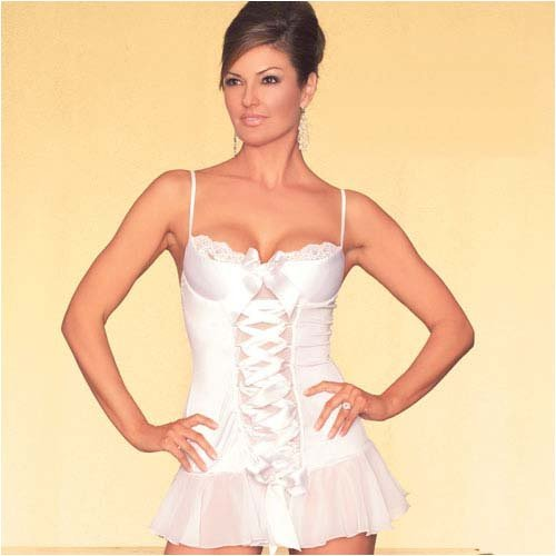 Demi Cup Lace Up Chemise From Silvermoon Bridal Lingerie