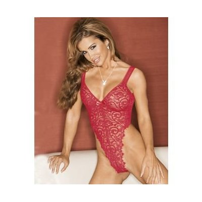 Eyelash Lace Thong Teddy - Red
