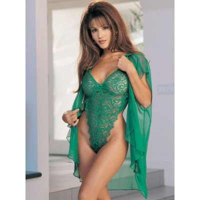 Eyelash Lace Thong Teddy - Green
